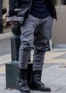 Irregular Cut Drop Crotch Slim Tweed Mouton Pants - Black×Gray