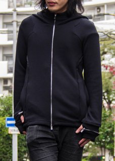 <img class='new_mark_img1' src='https://img.shop-pro.jp/img/new/icons8.gif' style='border:none;display:inline;margin:0px;padding:0px;width:auto;' />Irregular Cut Mouton Zip Hoodie - Black