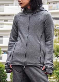 <img class='new_mark_img1' src='https://img.shop-pro.jp/img/new/icons8.gif' style='border:none;display:inline;margin:0px;padding:0px;width:auto;' />Irregular Cut Tweed Mouton Zip Hoodie - Black×Gray