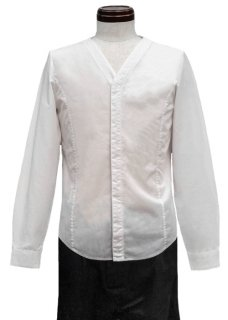 <img class='new_mark_img1' src='https://img.shop-pro.jp/img/new/icons8.gif' style='border:none;display:inline;margin:0px;padding:0px;width:auto;' />Giza Cotton No Collar Shirt - White