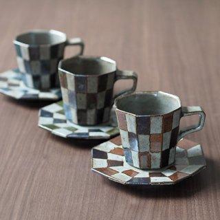 釉掛け分けコーヒーカップ&ソーサー