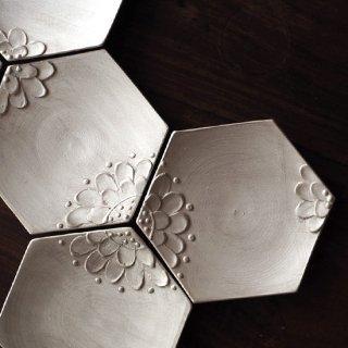 銀花皿 / 六角