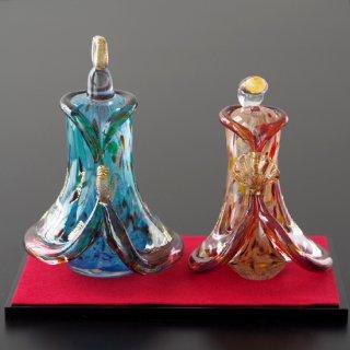 ガラス雛 / ブルー&レッド