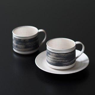 刷毛目銀彩 マグカップ(平底)