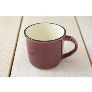 美濃焼  おとな色・小さめホーローみたいなマグカップ (べにいろ)