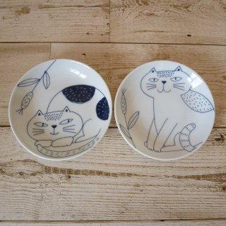 noafamily 《ノアファミリー》美濃焼 丸猫小皿2枚セット(A)