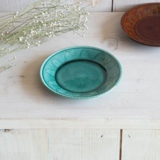 美濃焼 ウェーブ・パターン トルコ釉 (小皿)