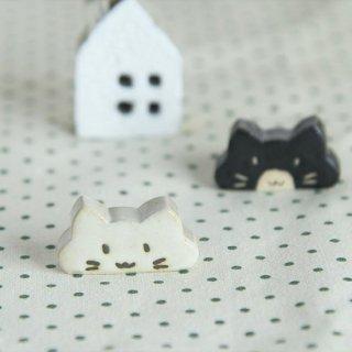 美濃焼 のんびり猫 箸置き 白猫