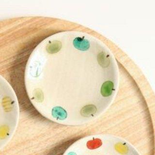 加藤麻里 【益子焼】 豆皿《リンゴ柄》(グリーン)