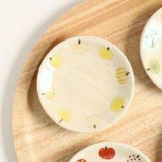 加藤麻里 【益子焼】 豆皿《リンゴ柄》(イエロー)
