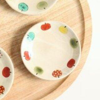 加藤麻里 【益子焼】 豆皿《リンゴ柄》(カラフル)