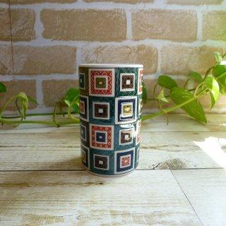 九谷焼 《青郊窯》 フリーカップ(石畳)