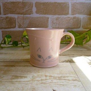 美濃焼 《美濃文山窯》 マグカップ【しまねこ】(ピンク)