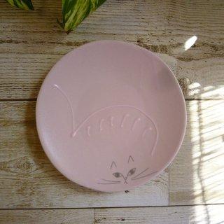 美濃焼 《美濃文山窯》 小皿【しまねこ】(ピンク)