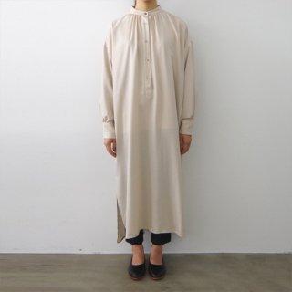 stand collar shirt one-piece  - beige -