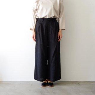 linen wide pants -black-