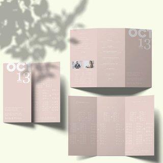 結婚式 席次表 ミニマルデザイン シンプル A4【サイズ変更可】三つ折り プロフィール メニュー入