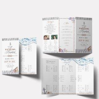結婚式 席次表 マリンテイスト A4【サイズ変更可】三つ折り プロフィール メニュー入