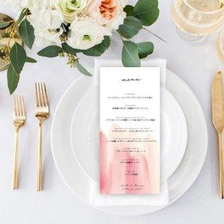 結婚式 メニュー表 水彩画  シンプル ミニマルデザイン メニュー