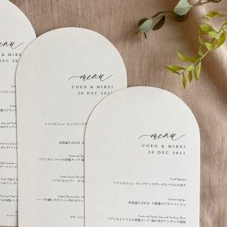 結婚式 メニュー表 アーチ型 シンプル ミニマルデザイン メニュー