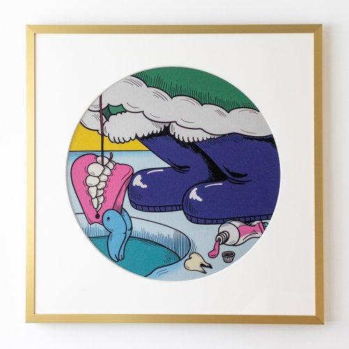 10/20(水)夜8時販売開始 若林 萌 複製原画#F「たのしい入れ歯釣り」 受注生産 額付き 限定数10枚