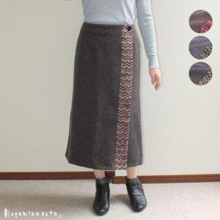 【40%OFF】 ファンシー使いウール混あったか巻きスカート