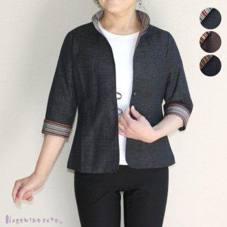 三河木綿デザイン衿ジャケット