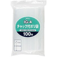 ジャパックス IG-4 チャック付ポリ袋 透明0.04 100枚入り×25冊【2,500枚】