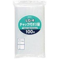 ジャパックス LG-4 チャック付ポリ袋 透明0.04 100枚入り×8冊【800枚】