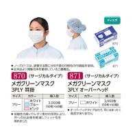 【新規受注停止中】メガクリーンマスク 3PLY 耳掛 ホワイト/ブルー/ピンク/オーバーヘッド 【3000枚入り】(50枚×60箱)