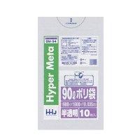 HHJ BM94 ポリ袋90L 半透明 0.035 LL+MeTa 10枚入り×40冊【400枚】