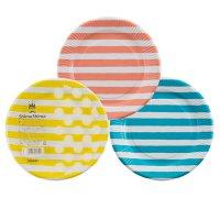 【バラ販売】P1810SIM しましまペーパープレート 18cm 3色アソート 【100枚入り】(10枚×10パック)