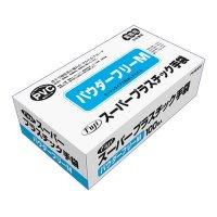 【新規受注停止中】フジスーパープラスチック手袋 粉無 M 100枚入り×30箱【3,000枚】