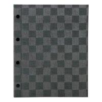 【最小購入数3冊】チェック柄メニュー MB-308(大・A4・4穴) グレーブラック/アイボリー/ブラウン