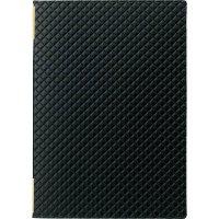 【最小購入数3冊】合皮キルトピンホール メニュー LB-822(中・B5) 黒/赤