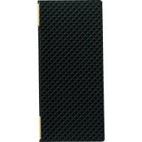 【最小購入数3冊】合皮キルトピンホール メニュー LB-825(タテ小) 黒/赤
