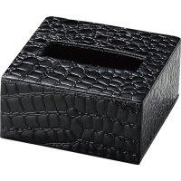 【最小購入数5個】クロコレザータッチシリーズ ティッシュボックス(小) TC-83 ブラック/ブラウン
