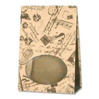 【バラ販売】紙袋 窓付袋 S1F コラージュブラウン 【50枚入り】