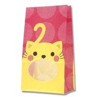 【バラ販売】紙袋 窓付袋 パックンバッグ No.4 ネコ 【50枚入り】