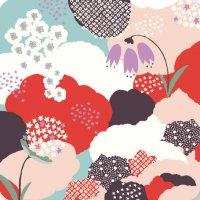 遊膳 CO-H05 花コースター 花園 赤 【100枚入り】