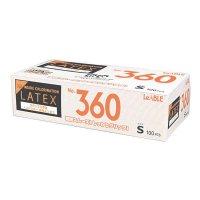 【新規受注停止中】No.360 ラテックス ノンパウダー 指先エンボス S 【2000枚入り】(100枚×20箱)