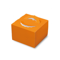 ケーキ箱 H140 手提げデコTD オレンジ  4.5号/5号/6号 【100枚入り】