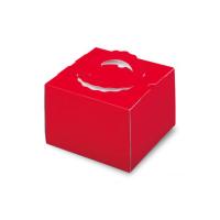 ケーキ箱 H140 手提げデコTD レッド 4.5号/5号/6号 【100枚入り】