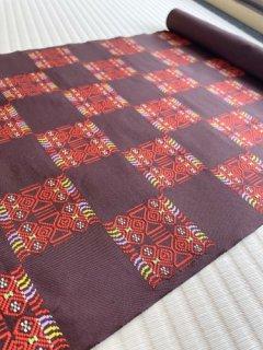洛風林謹製 焦茶地 蛮布石畳文 九寸名古屋帯