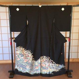 本加賀友禅 黒留袖 百貫広樹作(比翼・紋入れ込)