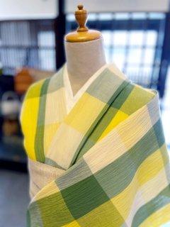 浴衣 綿麻縮み 黄色とグリーンのチェック