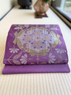 洛風林謹製 フローラ柄 紫苑地 名古屋帯