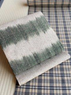 草木染 手織 蓬×老緑 たて絣 八寸名古屋帯