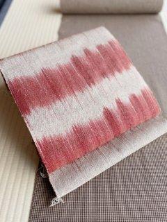 草木染 手織 茜×岩紅 たて絣 八寸名古屋帯