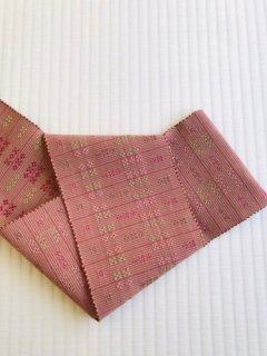 山里千佳子作 やしらみ花織 半巾帯 赤茶地